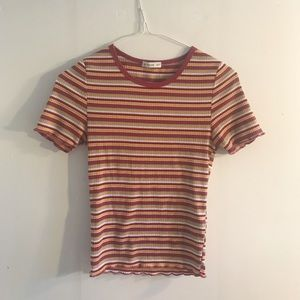 🍄 70s Vibe Rust Striped T-Shirt • Wavy sleeves